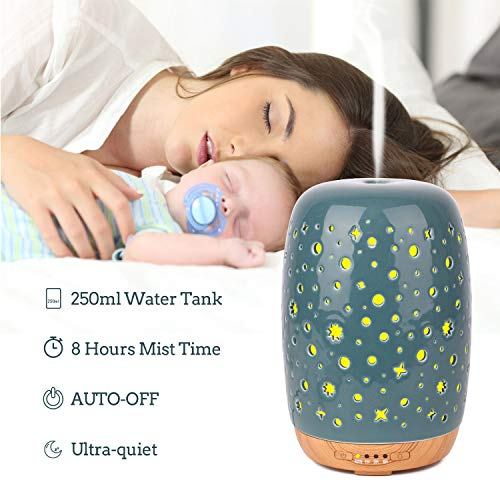 Diffuserlove Ceramic Diffuser 250ML Ultrasonic Aromatherapy Essential Oil Diffuser Humidifier with Timer setting 7 Color LED Lights, Waterless Auto Shut-off for Office Bedroom