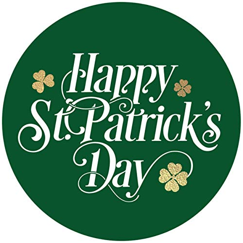 500 Happy St. Patrick's Day Stickers Shamrock Roll Labels | Metallic Green with Gold Foil Design | Suitable for St. Patrick's Day Party Decorations and Crafts Supplies.| 1.5' Round Size .