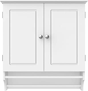 Topeakmart Bathroom/Kitchen Wall Storage Cabinet with Double Doors Wall Mounted Medicine Cabinet Hanging Organizer White