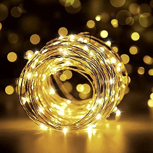 Hoteril Luci Stringa LED, Catene Luminose 12m 120 LEDs USB Alimentata con Interruttori, Catena di Luci Impermeabile per Esterni, Adatto a Giardino, Feste, Natale Ghirlanda Luminosa