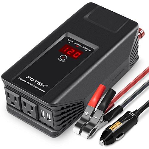 POTEK 750W Power Inverter 12V DC to 110V AC Car Adapter