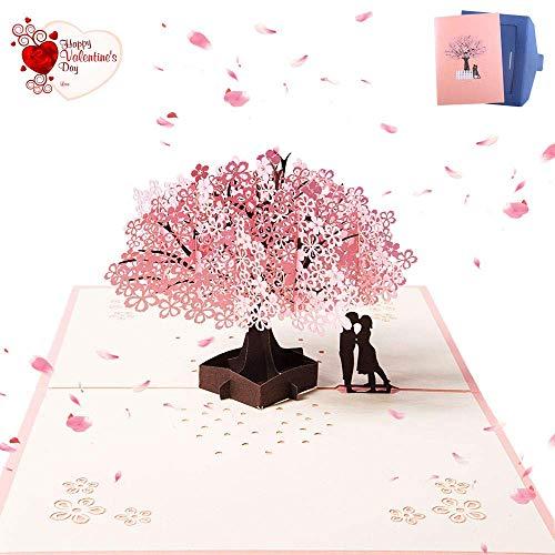 3D Hochzeitskarte,Pop Up Grußkarte für Hochzeit Valentinstag Hochzeitstag Geburtstag Jubiläum Weihnachten Romantische Sakura 20 * 15 CM