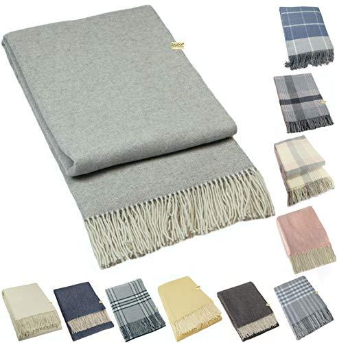 Zaloop Wolldecke Kaschmir versch. Farben ca. 140x200 cm Kaschmirdecke Decke Plaid Schurwolle grau