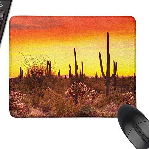 Saguaro Polyester Mauspad Serie Eve Sky in kargen Land mit Kakteen und ungeraden Unkräutern rund um die trockene Erde Foto Mauspad Senior Office Rot Gelb