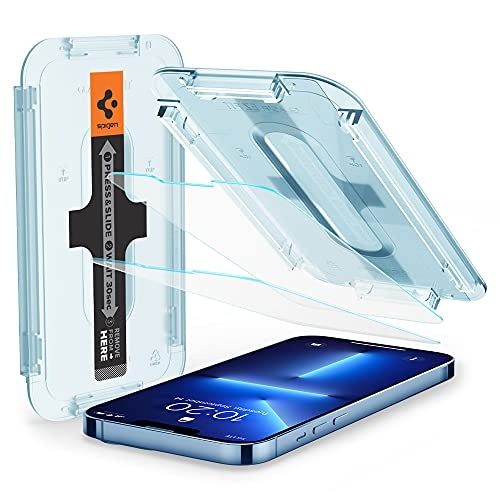Spigen Tempered Glass Screen Protector [Glas.tR EZ Fit] Designed for iPhone 13 Pro Max [Case Friendly] - 2 Pack