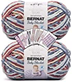 Bernat Baby Blanket Yarn - Big Ball (10.5 oz) - 2 Pack with Pattern Cards in Color (Button Roses)