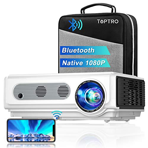 Projector, TOPTRO Projector with WiFi and Bluetooth, 7500L Native 1080P WiFi Projector with Carrying Case, Support 4K/Zoom, Home Theater Projector Compatible with Phone/TV Stick/PC/USB/PS4/DVD