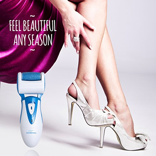 Electric Callus Remover: Rechargeable Electronic Foot File CR900 by Own Harmony (18 Months Warranty) Best Pedicure Tools w 3 Rollers Professional Pedi Feet Care Sander for Cracked Heels and Hard Skin