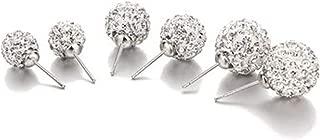 NIKOLay 3 Pair Rhinestone Ball Stud Earrings Ear Round Disco Spherical Bead Fireball Elegant Wild Sparkling Stud Earrings