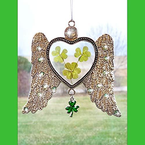 Irish Angel Suncatcher - Dried Pressed Shamrock Angel Wings Sun Catcher - Green Shamrocks and Clover Charm for Irish Heritage
