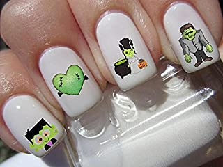 Halloween Nail Decals graveyard gothic nail art design set assorted frankenstein family Buy one get one free of our choice N161