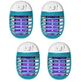 4 Pack Indoor Electric Bug Zapper Plug in Mosquito Killer with UV LED Night Light Electronic Insect Trap for Pests Fruit Flies Flying Gnats