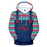 Xiao Maomi Chucky Cosplay Hoodie Jacket Coat Costume 3D Print Zipper Pullover Sweatshirt for Adult Halloween Outfit (XXL, Color 2)