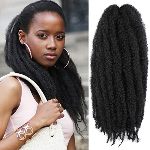 Wodun Marley Twist Hair Marley Hair for Twist Marley Twist Braid Hair Ombre Afro Kinky Braiding Hair 24 inches 6 Packs Maley Kinky Twist Hair for Braiding. (24 inch-6pacs, 1#)