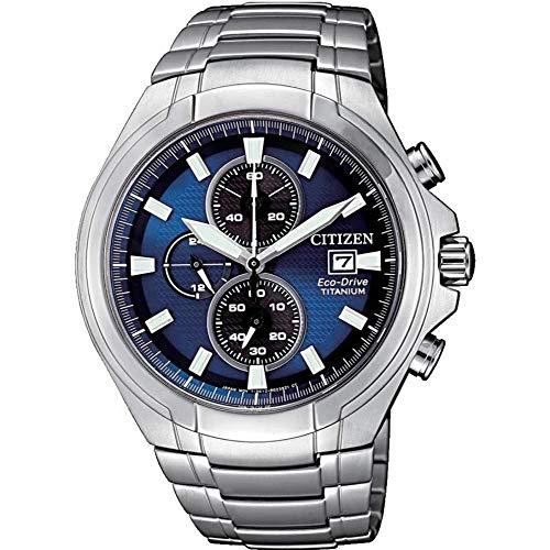 Citizen Reloj Eco-Drive crongrafo de Super Titanio Esfera Azul CA0700-86L