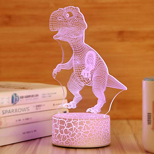 Night Light 3D for Kids Boys Girls Dinosaur Illusion Lamp,Children's Day Best Gift,Jurassic Park Fans Kids Bedroom Decor Bedside Night Light,7 Colors Change LED Lamp,Smart Touch USB