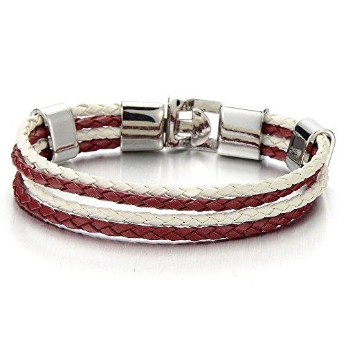COOLSTEELANDBEYOND Bunte Rot Weiß Geflochtenes Lederarmband für Damen Herren, Vier Stränge Reihen Wickeln Schweissband Schweißband