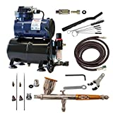 Paasche Airbrush Double Action Gravity Feed Airbrush Set and Compressor with Tank