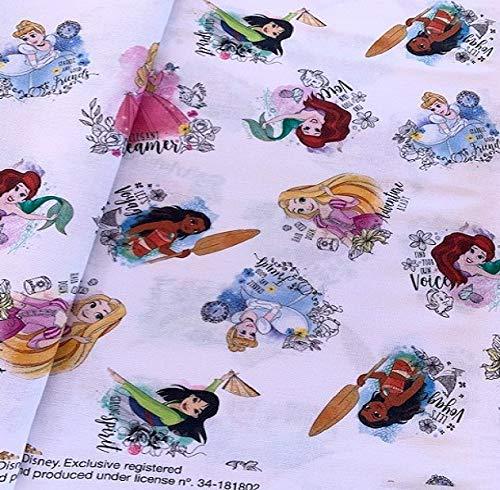 Tela princesas Disney 100% algodón (blanco)