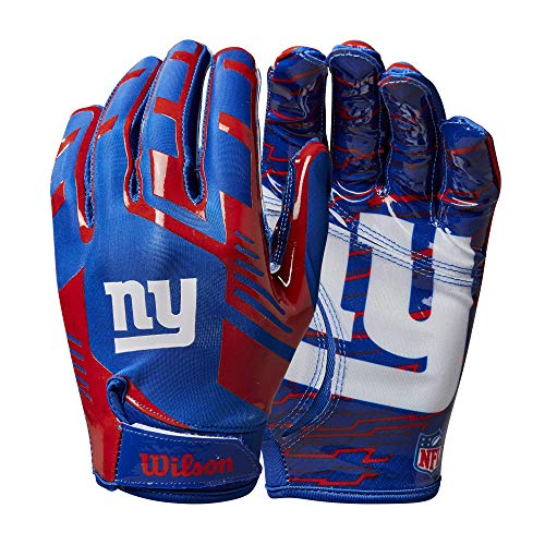 Wilson NFL Stretch Fit Football Gloves - New York Giants- Adult (WTF9326NG)