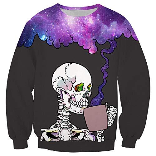 Hoodies,Purple 3D Truss Cup Mok Roken Sweater