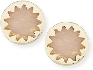 House of Harlow Pink Mineral Stone Goldtone Sunburst Button Post Earrings 7/8