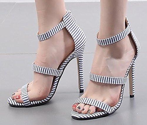 ZHUDJ Peep Toe Heels chaussures Mot Peep Toe Heels