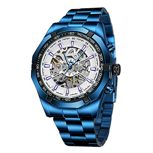 Montloxs Reloj mecánico automático para Hombre con Reloj de Pulsera Deportivo Impermeable de Moda con Banda de Acero Inoxidable
