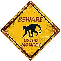 モンキー警告サイン注意交差点サインヴィンテージ通知壁の装飾金属ポスター野生の池のプラーク工芸品農場森林フィールド砂漠