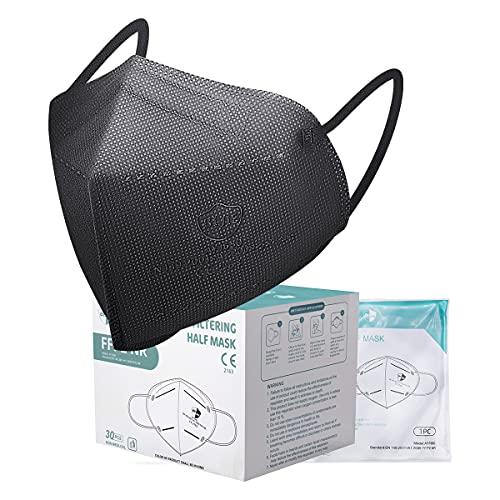 Acewin 30 × FFP2 Masken CE Zertifiziert Schwarze, FFP2 Schwarze Atemschutzmaske für Erwachsene 4 lagig mit 30 Nasenrücken und 30 Maskenhake - Individuelles Paket