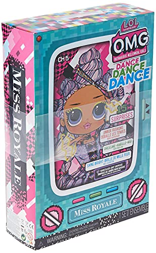 Poupée Mannequin LOL Surprise OMG Dance Dance Dance Miss Royale avec 15 Surprises, vêtements de créateur, Lumière Noire Magique, Accessoires, Chaussures et Pack TV. Pour les filles à partir de 4 ans