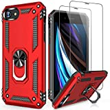 LUMARKE iPhone 8 Plus Case,iPhone 7 Plus Case with Glass Sreen Protector,Pass 16ft Drop Test Military Grade Cover Cover with Magnetic Kickstand Protective Phone Case for iPhone 7 Plus/8 Plus Red
