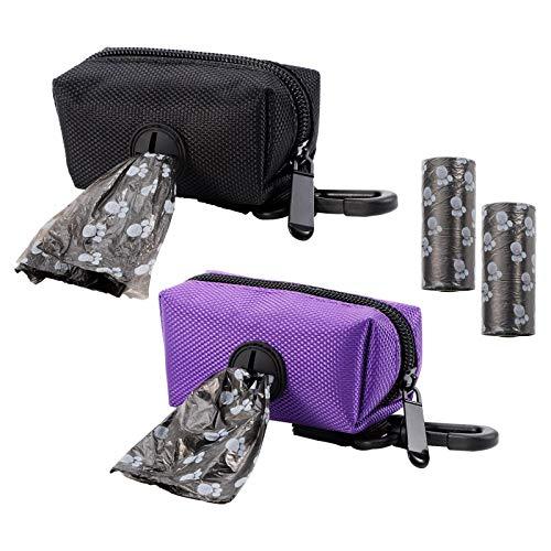GOTH Perhk Dispensador de bolsas de excrementos para perros, 2 unidades, dispensador con 2 rollos de bolsas a prueba de fugas, adecuado para todas las correas de perro.