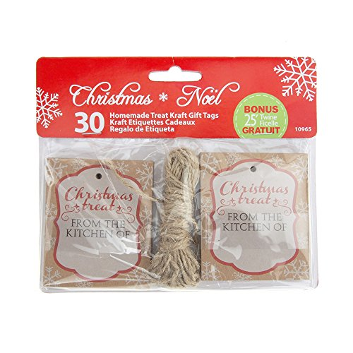 Homeford Christmas Homemade Treat Holiday Kraft Gift Tags, 3-Inch, 30-Piece