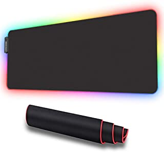 LUXCOMS RGB Soft Gaming Mouse Pad Large, Oversized Glowing Led Extended Mousepad ?Non-Slip Rubber Base Computer Keyboard P...