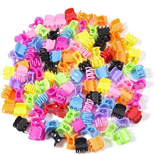 Queta 100 pièces Mini pinces à cheveux en plastique de coiffure Épingle à cheveux Broches avec une boîte Petits Clip de Griffe, Clips de Mâchoire pour filles et femmes Multicouleur