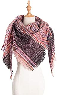 WUNONG-AU Women Imitation Cashmere Winter Warm Lattice Shawl Lattice Geometric Scarf (Color : Pink, Size : 135cm)