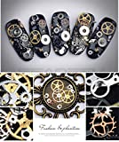 Steam punk Nail Art Decoration, 3D DIY Jewelry Metal Time Gear Mechanical Component Ultra- thin Manicure Decor Accessories Nail Tips, Mixed 1 Box Approx.100 Count