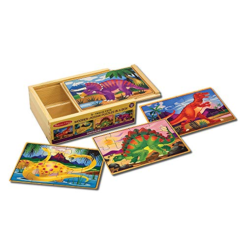 Melissa & Doug Dinosaur Jigsaw Puzzles in a Box (Four Wooden Puzzles in Wooden...