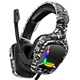 Gaming Headset for PS4 Headsets with Mic, Stereo Surround Sound with Noise Cancelling Mic with Mute & Volume Control, Lightweight Ergonomic Cool RGB Headphones for Xbox One (2021 Version Camo)