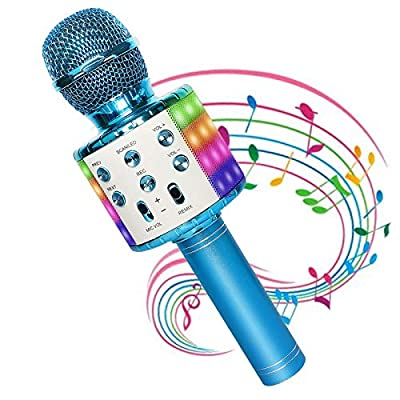 Wireless Karaoke Microphone Bluetooth with Colorful LED Lights, Handheld Portable Bluetooth Karaoke Microphone for Kids, Fit for iPhone, Android, PC, Car AUX, More Devices, Christmas Birthday Gift Kid