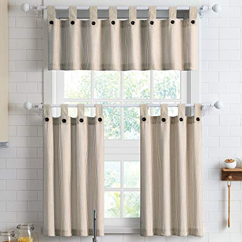 """3-Piece Cotton Tier Curtains 36 Inches Long Country Kitchen Curtains Set Tab Top for Small Window Bathroom Farmhouse 56"""" x 36"""", Linen"""