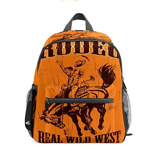 Kinder-Rucksack für Vorschule, für Jungen und Mädchen, leicht, für 1–6 Jahre, perfekter Rucksack für Kleinkinder im Kindergarten, Rooeo Real Wilo West Cowboy