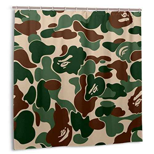 Waterproof Shower Curtain for Bathroom Decor Set,Black and White Bape Fabric Bath Curtains with Hooks 60x72in