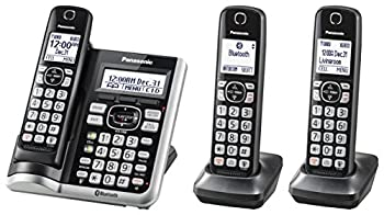 Panasonic Link2Cell Bluetooth Cordless Phone System with Voice Assistant Call Blocking and Answering Machine DECT 6.0 Expandable Cordless System - 3 Handsets - KX-TGF573S  Black/Silver Trim