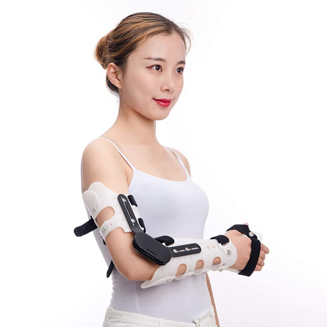 維持用心する通知手術後の調整可能なポストOP肘ブレース後の腕装具傷害回復サポートのための蝶番を付けられたROM肘パームブレース