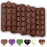 JAHEMU Moldes de Silicona Chocolate San Valentín Moldes de Bombones molde de corazón para Galletas, Caramelos, Chocolate Marrón, Muffins 4pcs