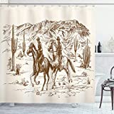 Ambesonne Western Shower Curtain, Country Theme Hand Drawn Illustration of American Wild West Desert with Cowboys, Cloth Fabric Bathroom Decor Set with Hooks, 70' Long, Umber Cream