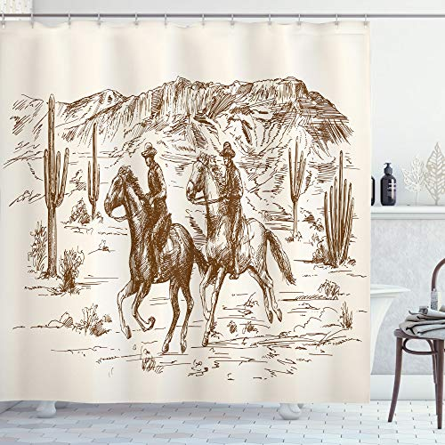 Ambesonne Western Shower Curtain, Country Theme Hand Drawn Illustration of American Wild West Desert with Cowboys, Cloth Fabric Bathroom Decor Set with Hooks, 75' Long, Umber Cream