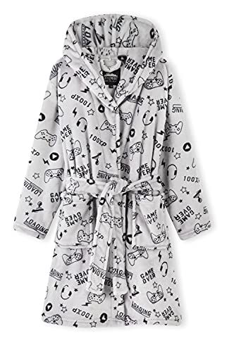 CityComfort Boys Dressing Gown, Gaming Fleece Dressing Gown For Kids 7-14 Years (Grey, 13_years)